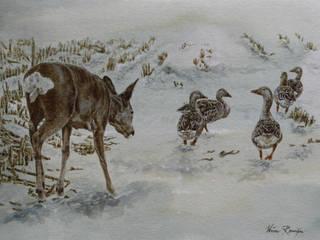 Reegeit te midden van grauwe ganzen van Wim Romijn Art Landelijk
