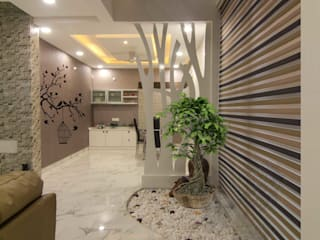 WHITE THEMED INTERIORS DONE ARTISTICALLY KREATIVE HOUSE Eclectic style corridor, hallway & stairs Tiles White