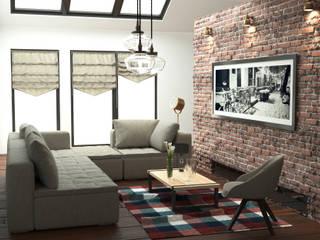 Salon z cegłą Industrialny salon od GoodDesign Industrialny