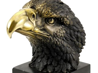 Tierfigur aus Bronze - Adler auf Marmor - sign. Milo:   by Art Bronze Sculptures