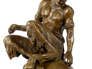 Fancy bronze figurine Sitting Faunus - Satyr signed Milo:   by Art Bronze Sculptures