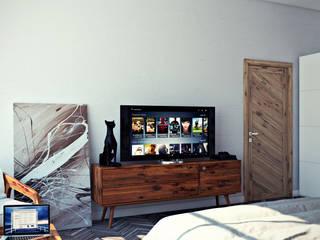 студия визуализации и дизайна интерьера '3dm2' Dormitorios de estilo industrial Gris