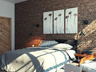 студия визуализации и дизайна интерьера '3dm2' Dormitorios de estilo industrial Marrón