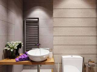 студия визуализации и дизайна интерьера '3dm2' Baños de estilo minimalista Gris
