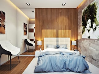 Проект 004: Спальня: Спальни в . Автор – студия визуализации и дизайна интерьера '3dm2', Минимализм