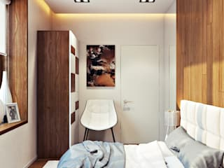 студия визуализации и дизайна интерьера '3dm2' Dormitorios de estilo minimalista Marrón