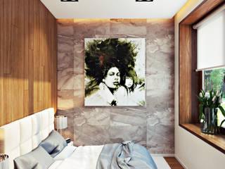 студия визуализации и дизайна интерьера '3dm2' Dormitorios de estilo minimalista Gris