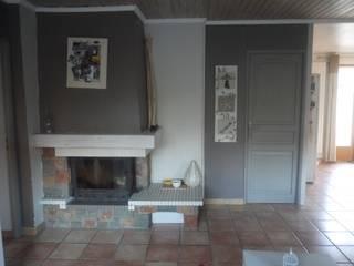 Création d'un espace ouvert cuisine, salle à manger , salon et d'une entrée avec dressing. par Sandra Merlin