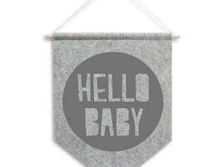 Wimpel HELLO BABY // grau:   von werkundstoff