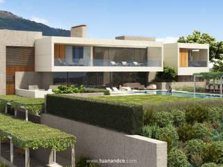 Fachada Sur - Jardin: Casas de estilo  de TUAN&CO. arquitectura