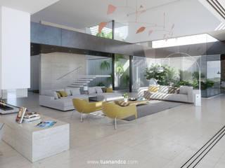 Salón principal a doble altura: Salones de estilo  de TUAN&CO. arquitectura