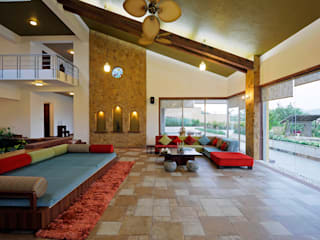 Lonavla Bungalow:  Living room by JAYESH SHAH ARCHITECTS