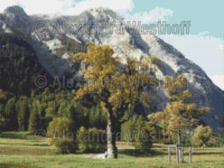 Kreuzstichvorlage Alpen 1:   von Alexandra Westhoff Stickdesign