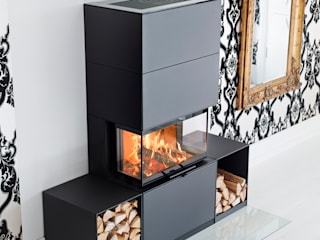 Wandkamin Contura i51 Stahl schwarz mit Holzfächern:   von kamga kaminöfen. gartenkamine.
