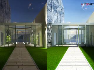 Render esterni P3dretti Ingresso, Corridoio & Scale in stile moderno