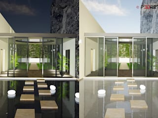 Render esterni Ingresso, Corridoio & Scale in stile moderno di P3dretti Moderno