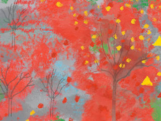 Red Autumn Fabric:   by Ruth Moser Design