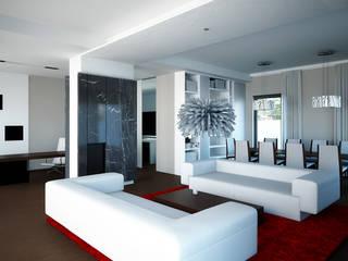 Projekt wykonawczy wnętrz, dom jednorodzinny, Wilczyce Majchrzak Pracownia Projektowa Nowoczesny salon