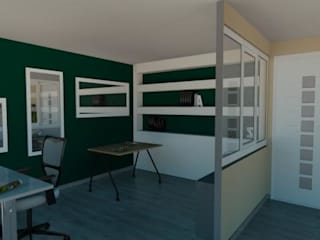Transformation containers en showroom menuiseries Bureau moderne par Agence 3Dimensions Moderne