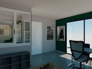 Transformation containers en showroom menuiseries: Bureau de style  par Agence 3Dimensions