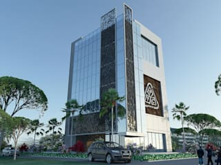View from the Road:  Office buildings by Sthaptya Vishwa Project Consultants