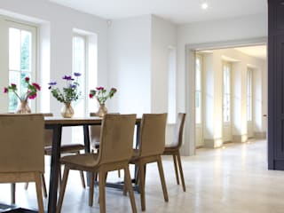 Zofia limestone floor in a honed finish from Artisans of Devizes. :  Dining room by Artisans of Devizes