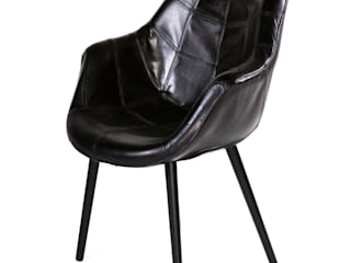 """Langlebiger Vintage Stuhl """"Lennon"""" aus Büffelleder Woodzs KücheTische und Sitzmöbel Leder Schwarz"""