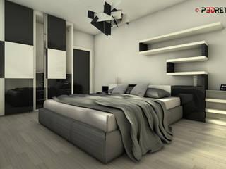 Render interni: Camera da letto in stile in stile Moderno di P3dretti