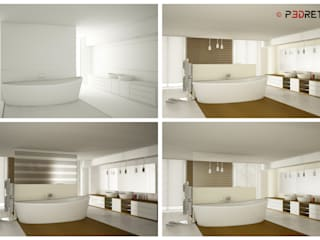 Render interni: Bagno in stile in stile Moderno di P3dretti