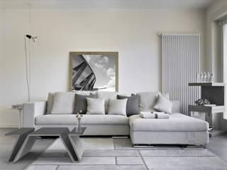Betonowy stół w salonie Nowoczesny salon od Modern Line Nowoczesny