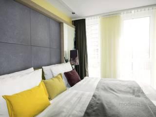 Płyty z betonu architekotnicznego Nowoczesna sypialnia od Modern Line Nowoczesny