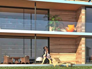 Gedeckte Terrassen: moderner Garten von ARCHITEKTURBÜRO KADEN