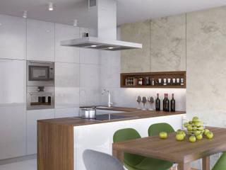 PROJEKT WNĘTZR DOMU JEDNORODZINNEGO: styl , w kategorii Kuchnia zaprojektowany przez Kunkiewicz Architekci