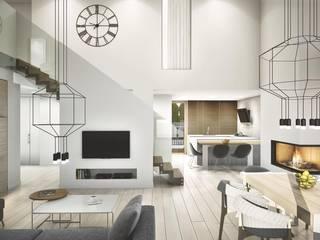 PROJEKT KOMPLEKSOWY DOMU JEDNORODZINNEGO: WNĘTRZA: styl , w kategorii Salon zaprojektowany przez Kunkiewicz Architekci