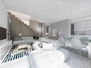 Projekt strefy dziennej w szarościach Nowoczesny salon od UTOO-Pracownia Architektury Wnętrz i Krajobrazu Nowoczesny