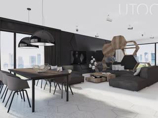 Projekt wnętrza w ciemnych barwach Nowoczesny salon od UTOO-Pracownia Architektury Wnętrz i Krajobrazu Nowoczesny