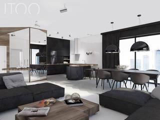 Projekt wnętrza w ciemnych barwach Nowoczesna kuchnia od UTOO-Pracownia Architektury Wnętrz i Krajobrazu Nowoczesny