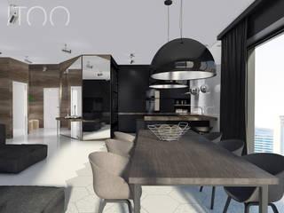 Projekt wnętrza w ciemnych barwach Nowoczesna jadalnia od UTOO-Pracownia Architektury Wnętrz i Krajobrazu Nowoczesny