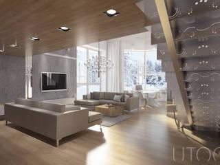 Projekt mieszkania dwupoziomowego Nowoczesny salon od UTOO-Pracownia Architektury Wnętrz i Krajobrazu Nowoczesny