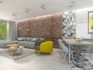 Nowoczesny vintage Nowoczesny salon od UTOO-Pracownia Architektury Wnętrz i Krajobrazu Nowoczesny