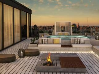Penthouse em Lisboa: Terraços  por DZINE & CO, Arquitectura e Design de Interiores,Moderno