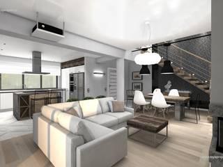 WIZUALIZACJE MYSprojekt projektowanie wnętrz Kolonialny salon od MYSprojekt projektowanie wnętrz Kolonialny