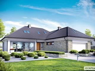 PROJEKT DOMU MAGNUS II G2: styl , w kategorii Domy zaprojektowany przez Pracownia Projektowa ARCHIPELAG,Nowoczesny