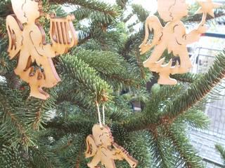 drei Engel aus Holz naturbelassen für den Weihnachtsbaum:   von Holzteilchen.de