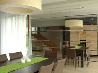 salon i kominek Moderne Esszimmer von Archomega Modern