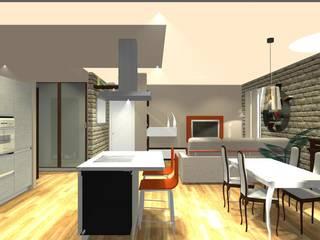Vista 3D in sezione della zona giorno: Cucina in stile  di Bludiprussia design
