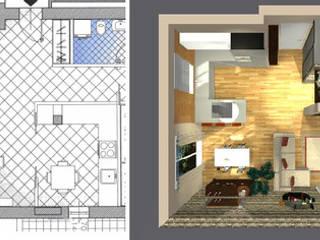 Soluzione proposta dal costruttore e soluzione personalizzata, completa di rivestimenti, arredi e colori.:  in stile  di Bludiprussia design