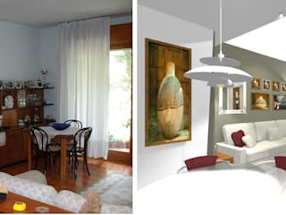 Progetto rinnovo ampia zona giorno e cucina abitabile di Bludiprussia design