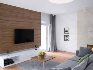 PROJEKT WNĘTRZ DOMU JEDNORODZINNEGO: styl , w kategorii Salon zaprojektowany przez Kunkiewicz Architekci