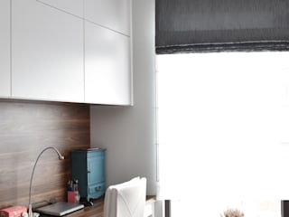 Gabinet oraz sypialnia w wersji dla niej Skandynawskie domowe biuro i gabinet od Milan design Skandynawski